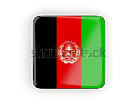 Kare Metal düğme bayrak Afganistan yalıtılmış Stok fotoğraf © MikhailMishchenko