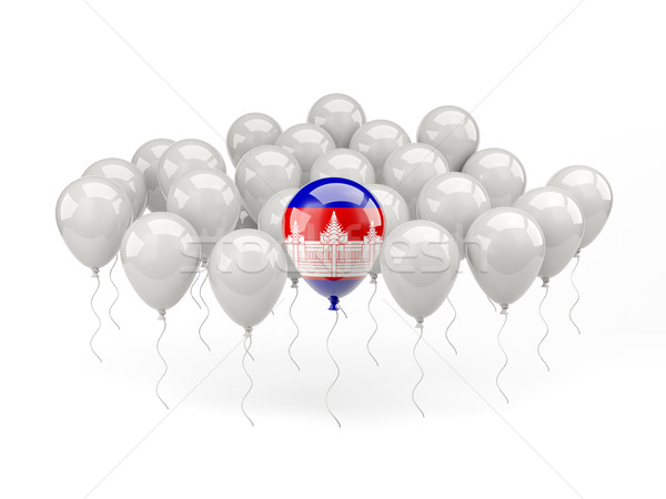 Lucht ballonnen vlag Cambodja geïsoleerd witte Stockfoto © MikhailMishchenko