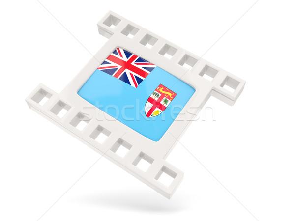 Filme ícone bandeira Fiji isolado branco Foto stock © MikhailMishchenko