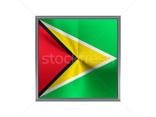 Tér fém gomb zászló Guyana izolált Stock fotó © MikhailMishchenko