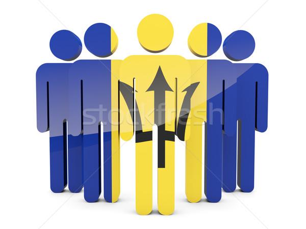 Mensen vlag Barbados geïsoleerd witte menigte Stockfoto © MikhailMishchenko