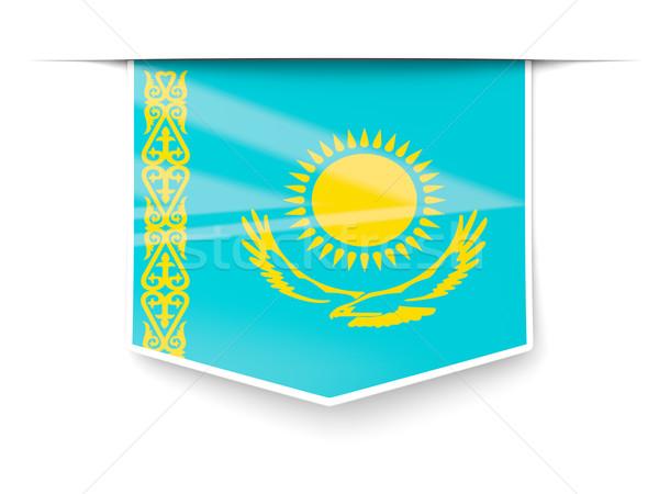 квадратный Label флаг Казахстан изолированный белый Сток-фото © MikhailMishchenko