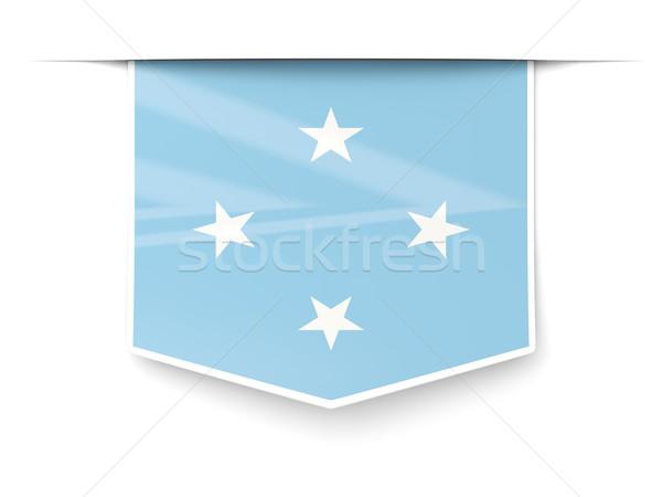 Praça etiqueta bandeira Micronésia isolado branco Foto stock © MikhailMishchenko