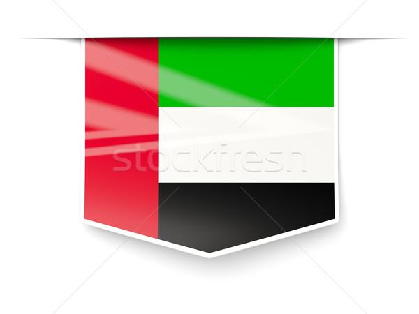 Praça etiqueta bandeira Emirados Árabes Unidos isolado branco Foto stock © MikhailMishchenko