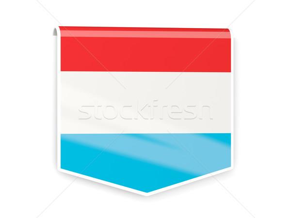 Zászló címke Luxemburg izolált fehér felirat Stock fotó © MikhailMishchenko