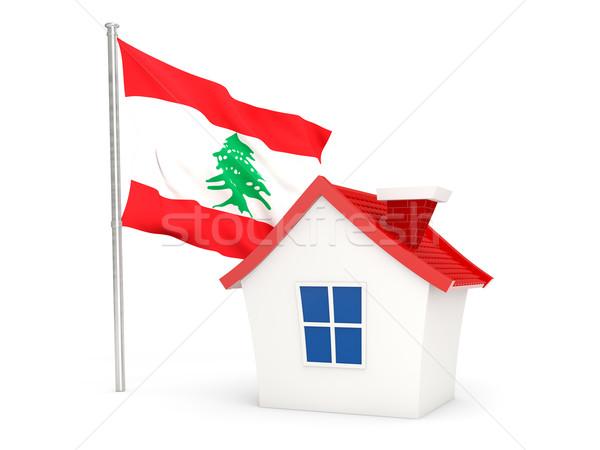 Ev bayrak Lübnan yalıtılmış beyaz ev Stok fotoğraf © MikhailMishchenko