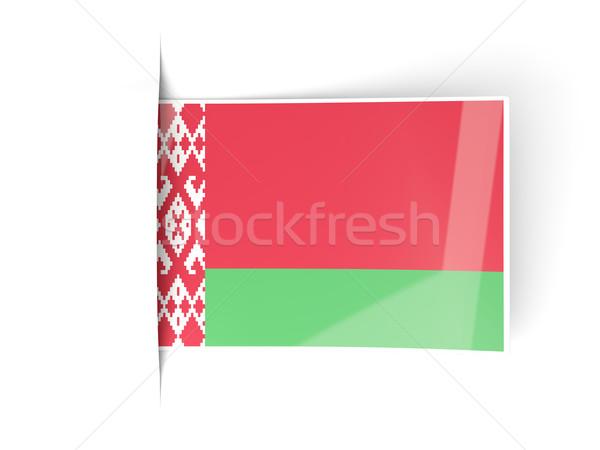Kare etiket bayrak Belarus yalıtılmış beyaz Stok fotoğraf © MikhailMishchenko