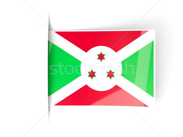 Praça etiqueta bandeira Burundi isolado branco Foto stock © MikhailMishchenko