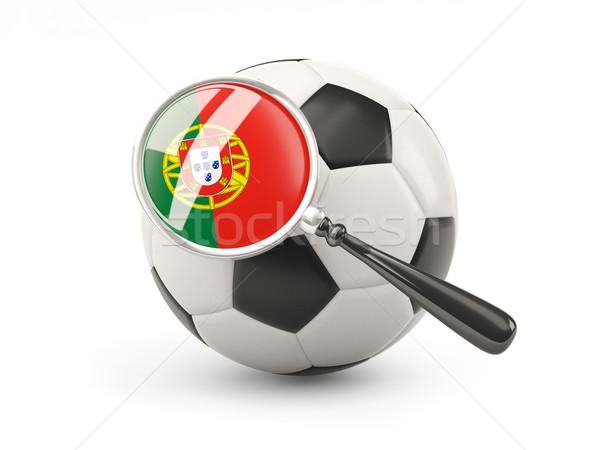 サッカー 拡大された フラグ ポルトガル 孤立した 白 ストックフォト © MikhailMishchenko