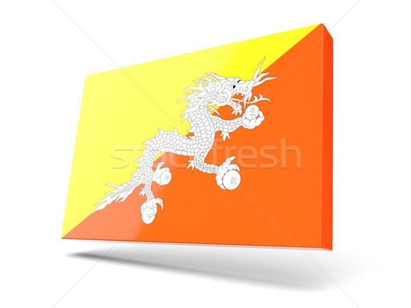 Vierkante icon vlag Bhutan geïsoleerd witte Stockfoto © MikhailMishchenko