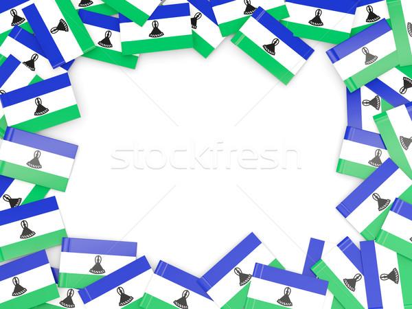 Ramki banderą Lesotho odizolowany biały Zdjęcia stock © MikhailMishchenko
