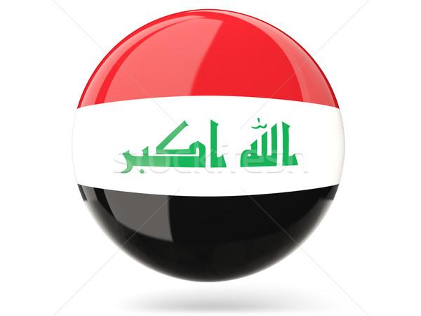 Icon vlag Irak glanzend teken witte Stockfoto © MikhailMishchenko