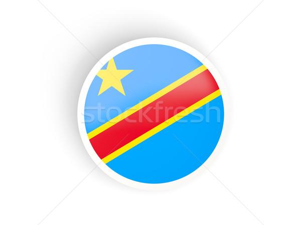 Naklejki banderą demokratyczny republika Congo odizolowany Zdjęcia stock © MikhailMishchenko