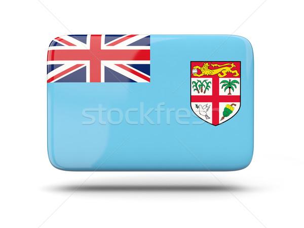 Praça ícone bandeira Fiji sombra assinar Foto stock © MikhailMishchenko