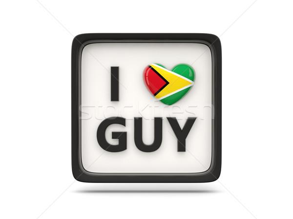 Szeretet Guyana felirat izolált fehér szív Stock fotó © MikhailMishchenko