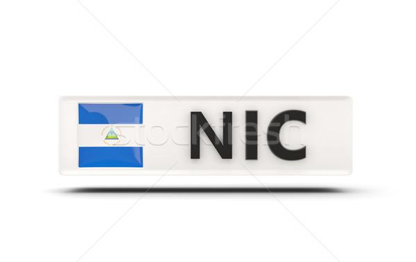 Praça ícone bandeira Nicarágua iso código Foto stock © MikhailMishchenko