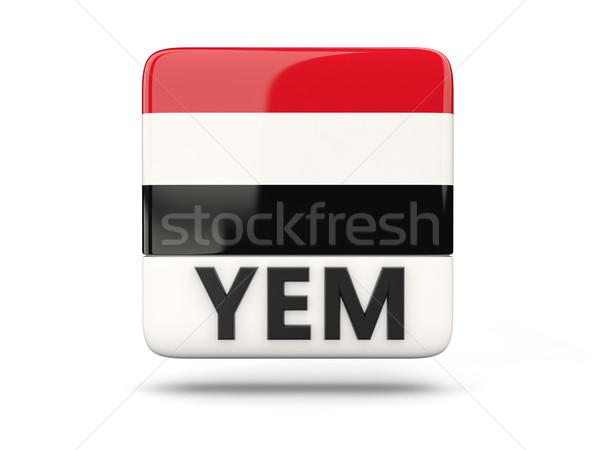 Vierkante icon vlag Jemen iso code Stockfoto © MikhailMishchenko
