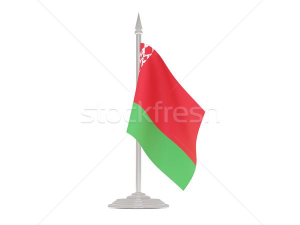 Banderą Białoruś maszt 3d odizolowany biały Zdjęcia stock © MikhailMishchenko