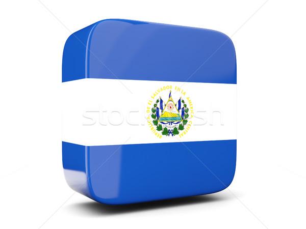 Praça ícone bandeira El Salvador ilustração 3d isolado Foto stock © MikhailMishchenko