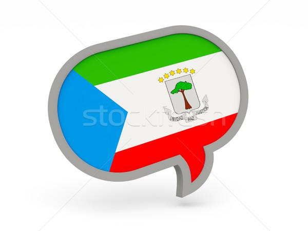 Conversar ícone bandeira Guiné Equatorial isolado branco Foto stock © MikhailMishchenko