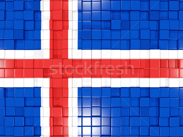 Background with square parts. Flag of iceland. 3D illustration Stock photo © MikhailMishchenko