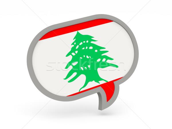 ストックフォト: チャット · アイコン · フラグ · レバノン · 孤立した · 白