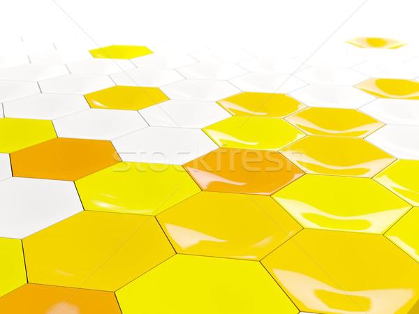Witte Geel zeshoek patroon 3d illustration achtergrond Stockfoto © MikhailMishchenko