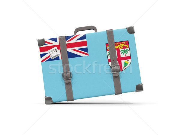 Bagage vlag Fiji koffer geïsoleerd witte Stockfoto © MikhailMishchenko