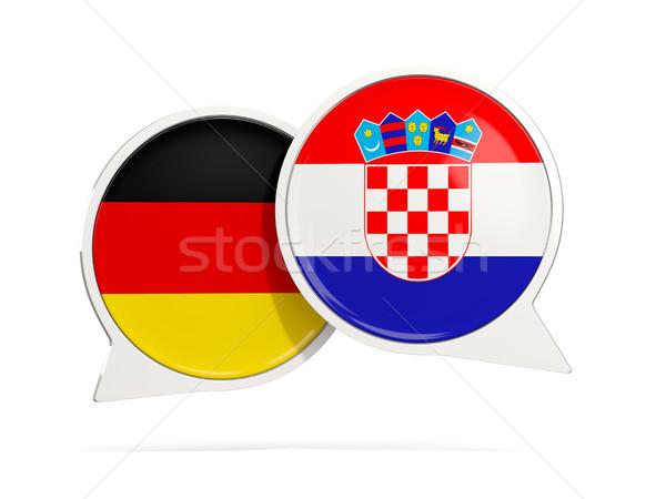 Sohbet kabarcıklar Almanya Hırvatistan yalıtılmış beyaz Stok fotoğraf © MikhailMishchenko