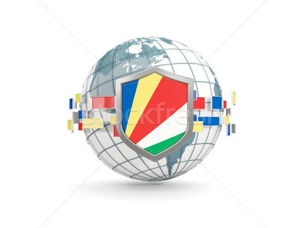 Globe and shield with flag of seychelles isolated on white Stock photo © MikhailMishchenko