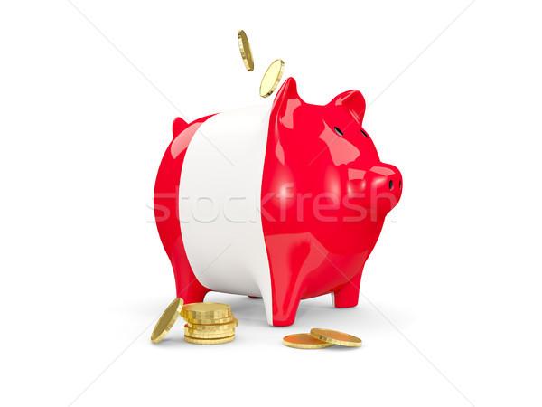 Tłuszczu banku piggy Peru ceny odizolowany biały Zdjęcia stock © MikhailMishchenko