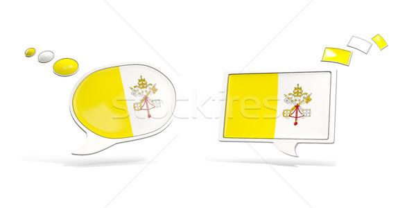 Dwa chat ikona banderą Watykan placu Zdjęcia stock © MikhailMishchenko