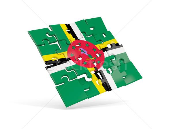 головоломки флаг Доминика изолированный белый 3d иллюстрации Сток-фото © MikhailMishchenko