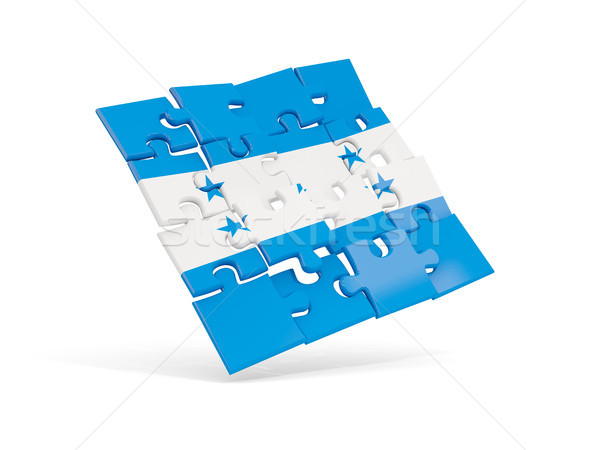 Quebra-cabeça bandeira Honduras isolado branco ilustração 3d Foto stock © MikhailMishchenko