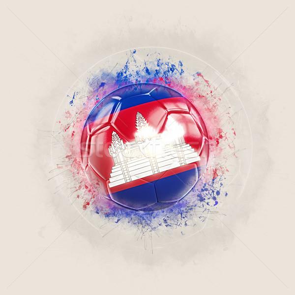 Grunge futebol bandeira Camboja ilustração 3d mundo Foto stock © MikhailMishchenko