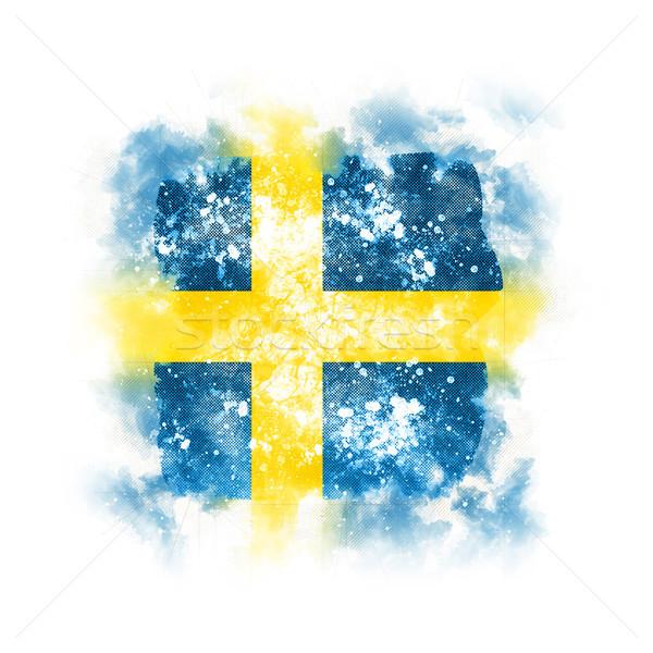 Placu grunge banderą Szwecja 3d ilustracji retro Zdjęcia stock © MikhailMishchenko