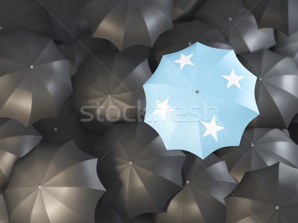 Guarda-chuva bandeira Micronésia topo preto guarda-chuvas Foto stock © MikhailMishchenko