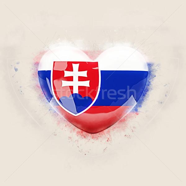 Hart vlag Slowakije grunge 3d illustration reizen Stockfoto © MikhailMishchenko