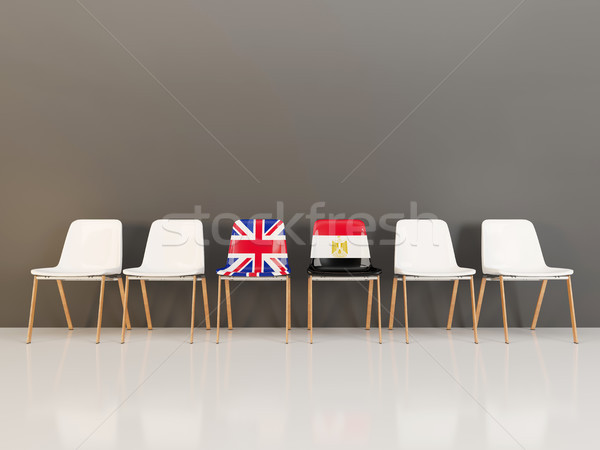 Chairs with flag of United Kingdom and egypt Stock photo © MikhailMishchenko