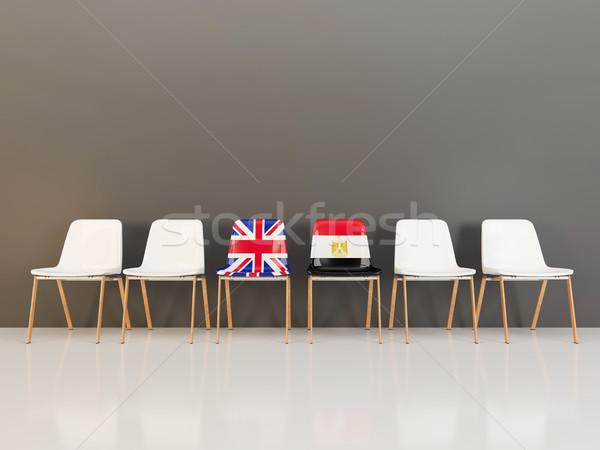 Székek zászló Egyesült Királyság Egyiptom csetepaté 3d illusztráció Stock fotó © MikhailMishchenko