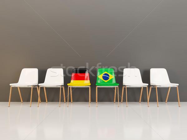 Sandalye bayrak Almanya Brezilya 3d illustration Stok fotoğraf © MikhailMishchenko
