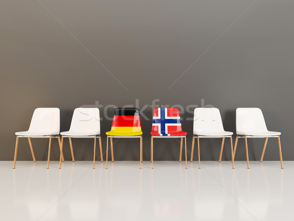 Chairs with flag of Germany and norway in a row Stock photo © MikhailMishchenko