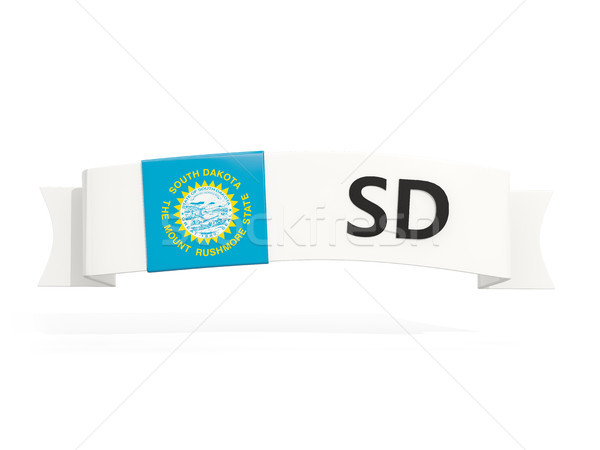 Stockfoto: South · Dakota · vlag · banner · afkorting · geïsoleerd · witte