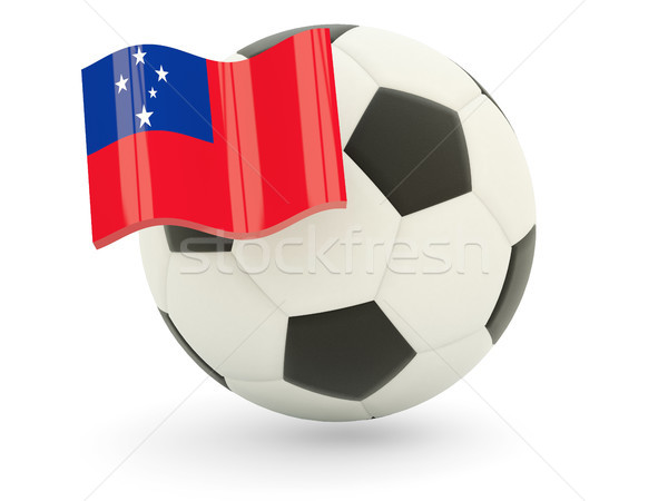 Voetbal vlag Samoa geïsoleerd witte sport Stockfoto © MikhailMishchenko