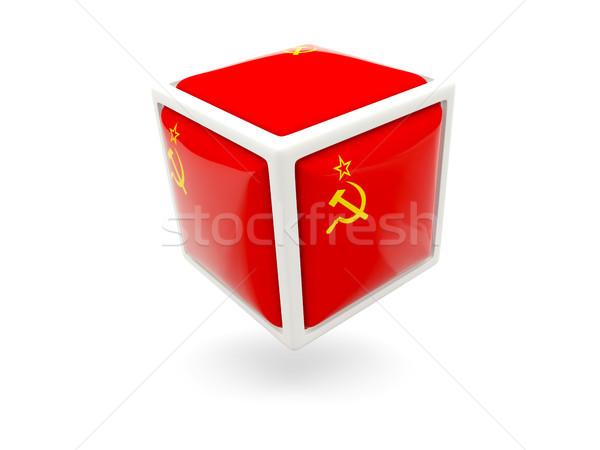 Bandera urss cubo icono aislado blanco Foto stock © MikhailMishchenko