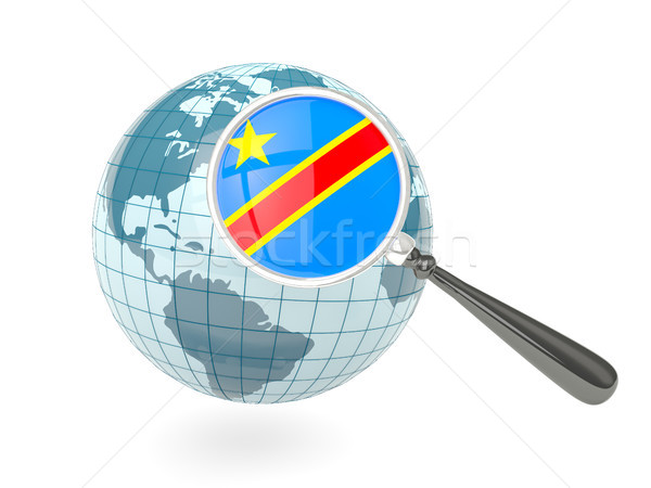 Magnified flag of democratic republic of the congo with blue glo Stock photo © MikhailMishchenko