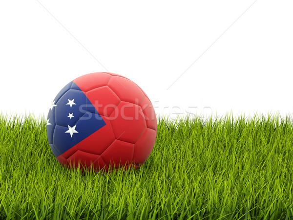 Voetbal vlag Samoa groen gras voetbal wereld Stockfoto © MikhailMishchenko