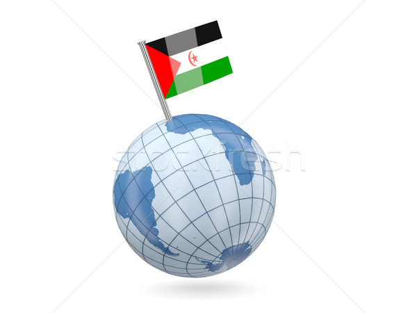 Wereldbol vlag westerse sahara Blauw geïsoleerd Stockfoto © MikhailMishchenko