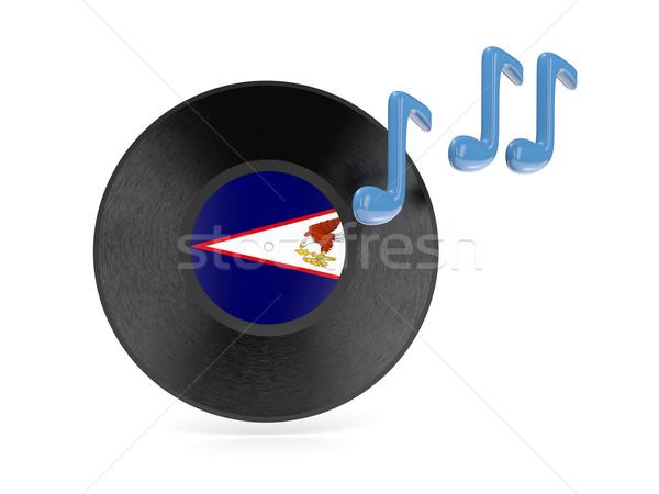 Stockfoto: Vinyl · schijf · vlag · Amerikaans · Samoa · geïsoleerd · witte