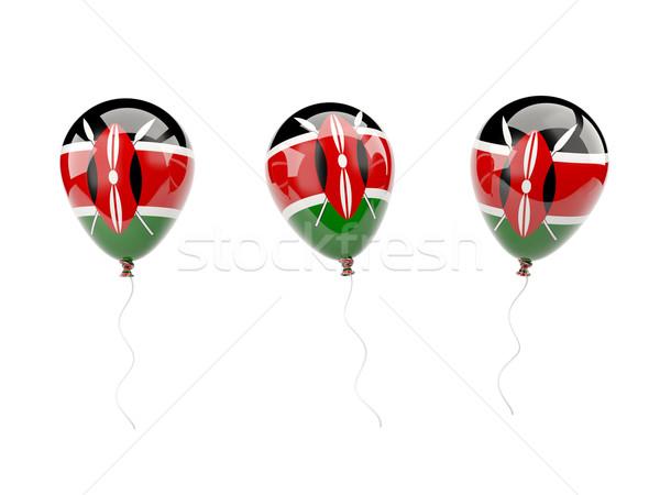 Powietrza balony banderą Kenia odizolowany biały Zdjęcia stock © MikhailMishchenko
